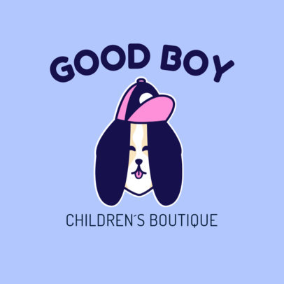 Logo Generator for a Kids' Clothing Boutique Featuring a Dog Clipart 3776b