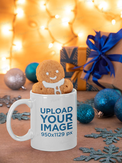 Mockup Featuring a Gingerbread Man Inside an 11 oz Coffee Mug m47