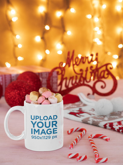 Mockup of an 11 oz Mug Filled with Marshmallows in a Christmas Setting m46