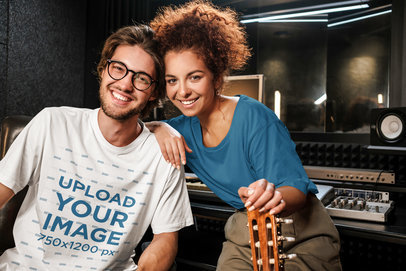 T-Shirt Mockup Featuring Two Musicians in a Studio 39747-r-el2