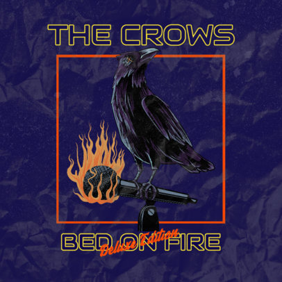 Album Cover Template for a Heavy Metal Band with a Crow Illustration 3073a