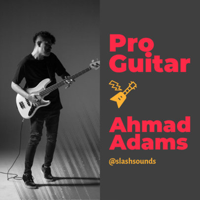 Instagram Post Design Template for a Pro Guitarist's Creative Portfolio 3068d