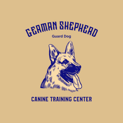 Logo Generator for a Dog Training Center Featuring a German Shepherd Clipart 3776g