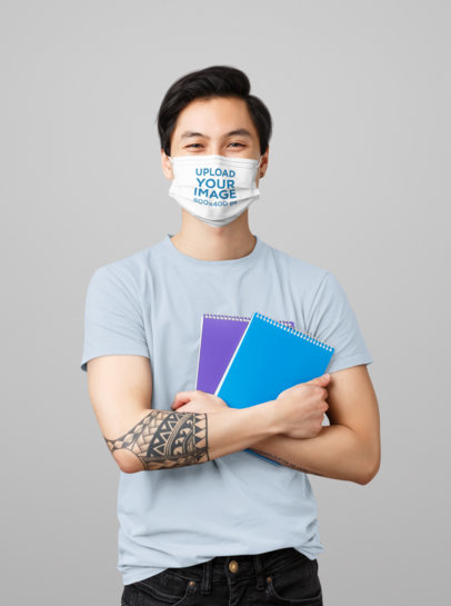Face Mask Mockup Featuring a Tattooed Student in a Studio 43973-r-el2