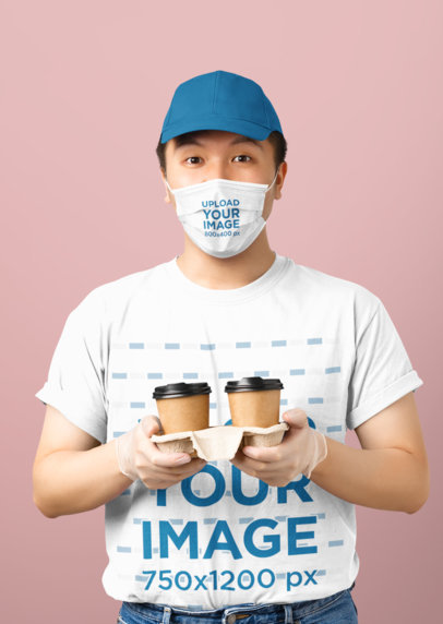 Studio Mockup of a Worker Wearing a Face Mask and a T-Shirt 43660-r-el2