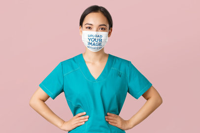 Face Mask Mockup of a Confident Health Worker in a Studio 43996-r-el2