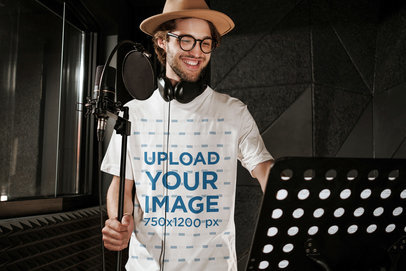 T-Shirt Mockup of a Hipster Man in a Music Studio 39767-r-el2