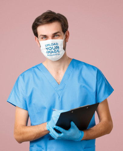Face Mask Mockup of a Male Nurse in a Studio 43983-r-el2