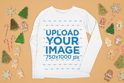 Mockup of a Customizable Long Sleeve Tee Surrounded by Christmas Cookies m24