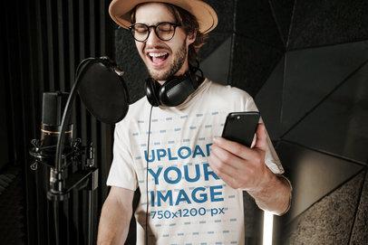Mockup of a Male Singer Wearing a T-Shirt in a Studio 39769-r-el2