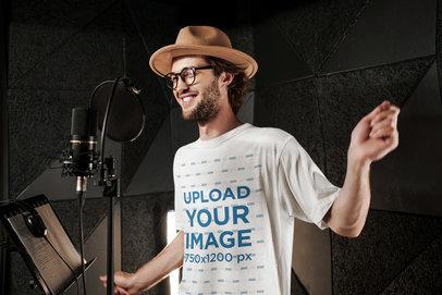 T-Shirt Mockup of a Hipster Man Singing at a Studio 39770-r-el2