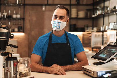 Face Mask Mockup of a Barista Standing Behind a Counter 44074-r-el2