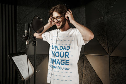 T-Shirt Mockup of a Male Singer Recording in a Studio 40167-r-el2