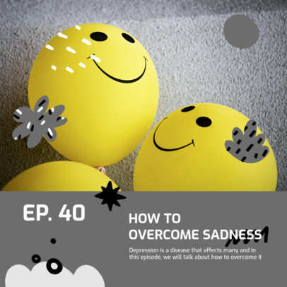 Podcast Cover Generator for an Episode About Depression 3066e-el1