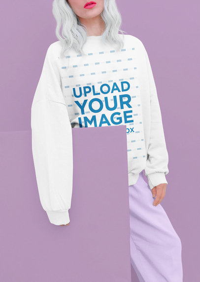 Mockup of a Silver-Haired Woman Wearing a Sweatshirt in a Monochromatic Setting 43674-r-el2