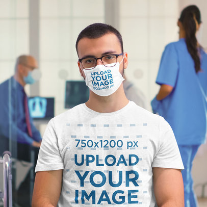 T-Shirt and Face Mask Mockup of a Serious Man at a Hospital 43013-r-el2