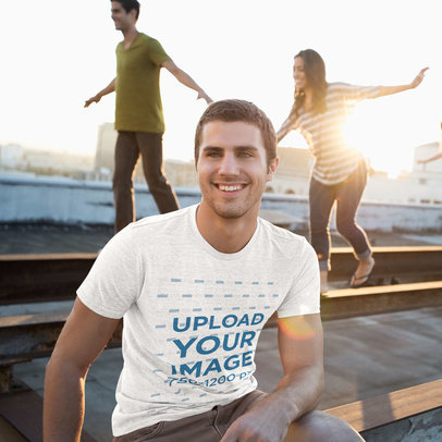 T-Shirt Mockup of a Happy Man Hanging Out with Friends 43245-r-el2