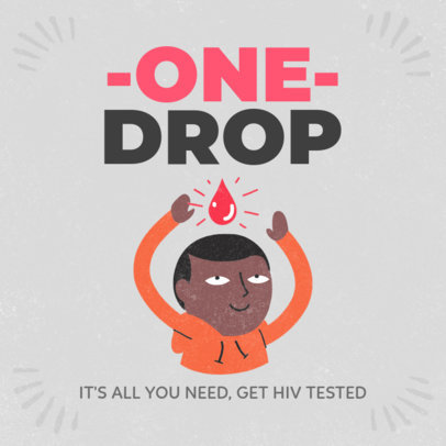 Cause Instagram Post Template to Raise Awareness About HIV 3098e