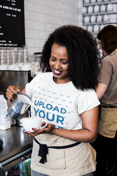 T-Shirt Mockup Featuring a Female Barista Making a Latte 41773-r-el2