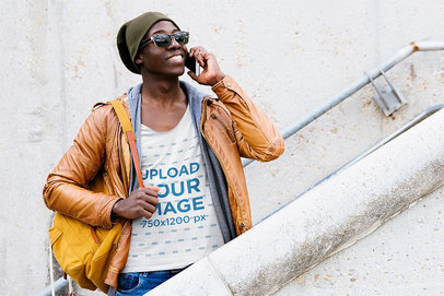 Scoop Neck Tee Mockup of a Man with Sunglasses Talking on the Phone 41487-r-el2