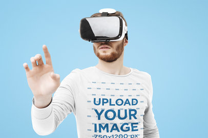 Long Sleeve Tee Mockup of a Bearded Man with a VR Headset in a Studio 40196-r-el2