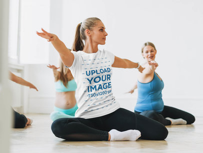 Round Neck Tee Mockup Featuring a Woman in a Yoga Class 43073-r-el2