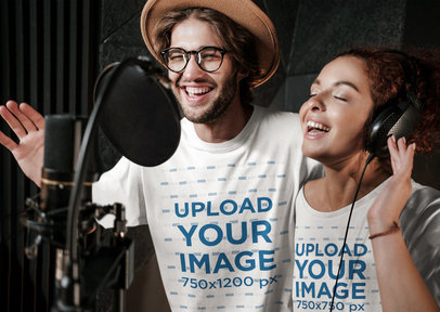 T-Shirt Mockup Featuring Two Singers at a Studio 40197-r-el2