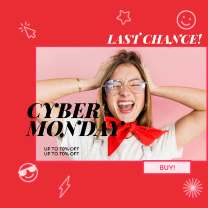 Ad Banner Template for a Flash Cyber Monday Sale Featuring a Photo 3101b