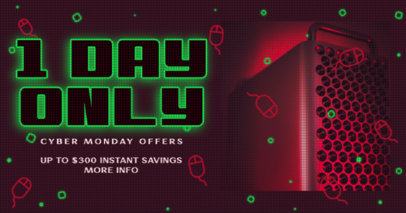 Facebook Post Design Generator to Announce a One-Day-Only Cyber Monday Offer 3102f