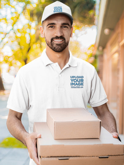 Polo Shirt Mockup Featuring a Delivery Guy with a Hat 44187-r-el2