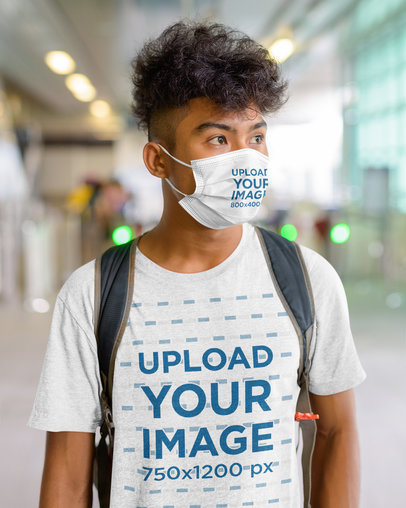 Face Mask Mockup of a Man Wearing a Heathered T-Shirt 44448-r-el2