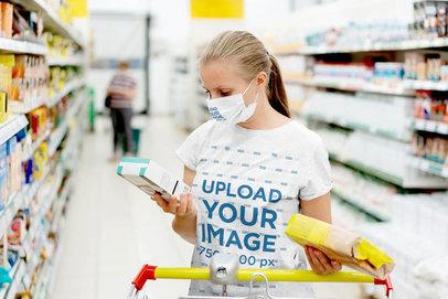 T-Shirt and Face Mask Mockup of a Woman at a Supermarket 44358-r-el2