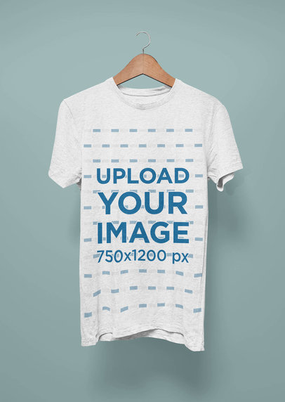 Heather T-Shirt Mockup Featuring a Wooden Hanger and a Plain Backdrop 44426-r-el2