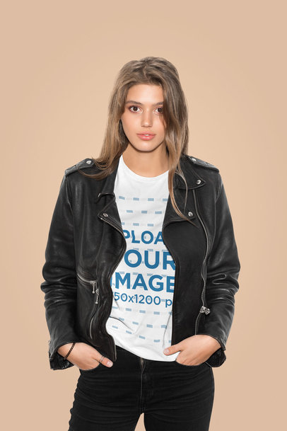 T-Shirt Mockup of a Fashionable Woman Posing in a Studio 43075-r-el2
