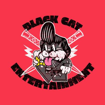 Logo Generator for Rockabilly Fans Featuring a Happy Cat Cartoon 3799i