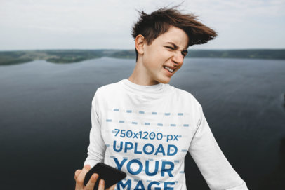 Long Sleeve Tee Featuring a Teenager Posing by a Lake 43687-r-el2