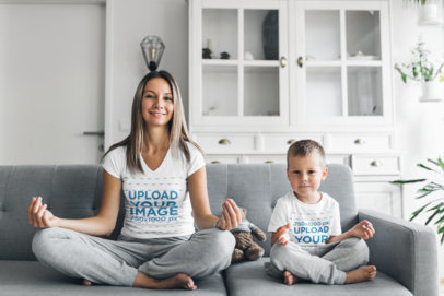 T-Shirt Mockup Featuring a Mom and Her Son Doing Yoga in the Living Room 44669-r-el2