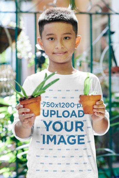 Long Sleeve T-Shirt Mockup of a Boy Holding Two Plant Pots 43258-r-el2