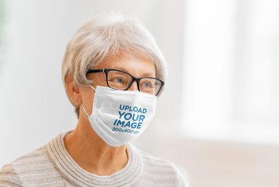 Face Mask Mockup Featuring a Kind Senior Woman 44595-r-el2