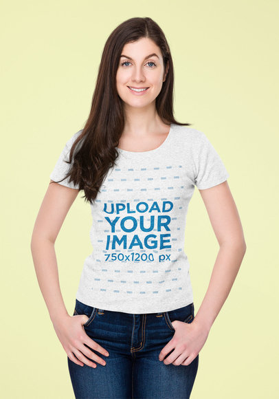 Mockup of a Smiling Woman Wearing a Heather Tee in a Studio 44560-r-el2