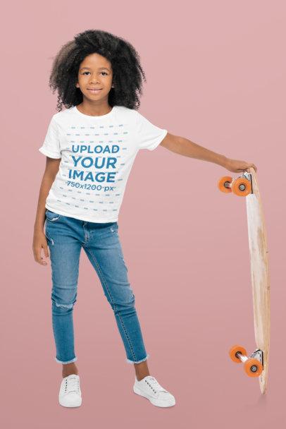 T-Shirt Mockup of a Little Skater Girl in a Studio 44544-r-el2