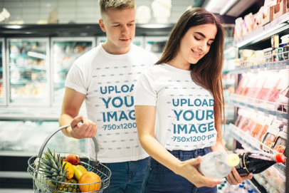 Mockup of a Young Couple Shopping at The Supermarket 34750-r-el2