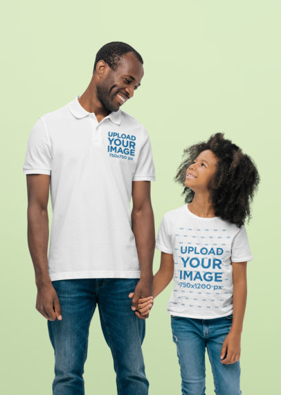 Polo Shirt and T-Shirt Mockup Featuring a Dad and His Daughter at a Studio 44545-r-el2