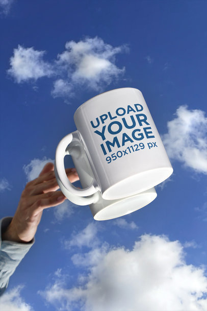 11 oz Coffee Mug Mockup Featuring a Surface Reflecting the Sky m597