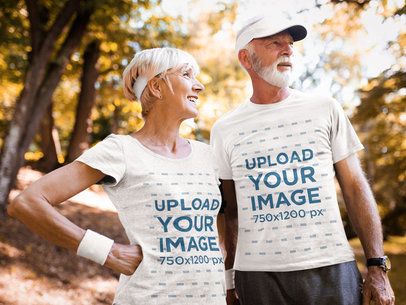 Activewear Mockup Featuring a Senior Couple Wearing T-Shirts 43035-r-el2