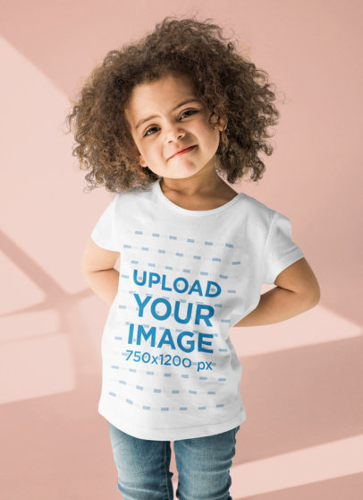 Crew Neck T-Shirt Mockup of a Curly-Haired Girl at a Studio 44368-r-el2