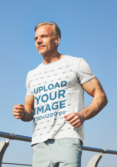 Mockup of a Fit Senior Man Running with a T-Shirt 43009-r-el2