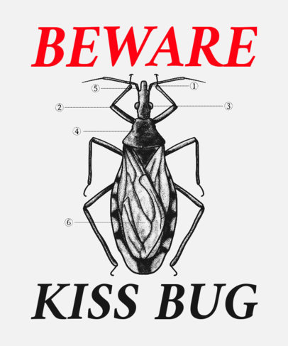 Entomology-Themed T-Shirt Design Template with a Bug Graphic 3122c