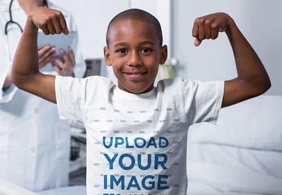 T-Shirt Mockup of a Strong Boy at a Hospital 40726-r-el2