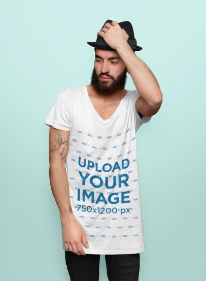 Scoop Neck T-Shirt Mockup of a Tattooed Man Posing at a Studio 44310-r-el2